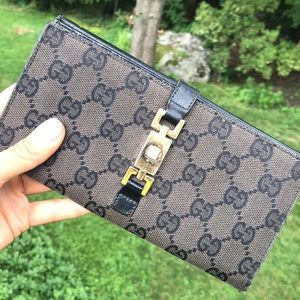 Gucci Monogram Canvas & Leather Long Wallet